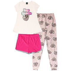 Girls 4-16 Jelli Fish Top, Shorts & Jogger Pants Pajama Set