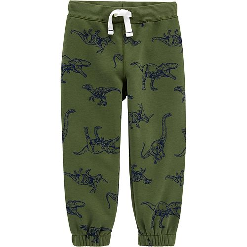 Toddler Boy Carter's Dinosaur Print Pull-On Fleece-Lined Joggers