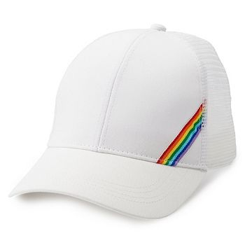 b92b32fe6 Women's SO® Rainbow Stripes Meshback Baseball Cap
