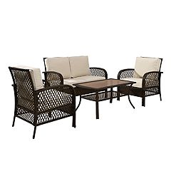 Crosley Furniture Tribeca 4-Piece Outdoor Wicker Seating Set in Brown with Sand Cushions