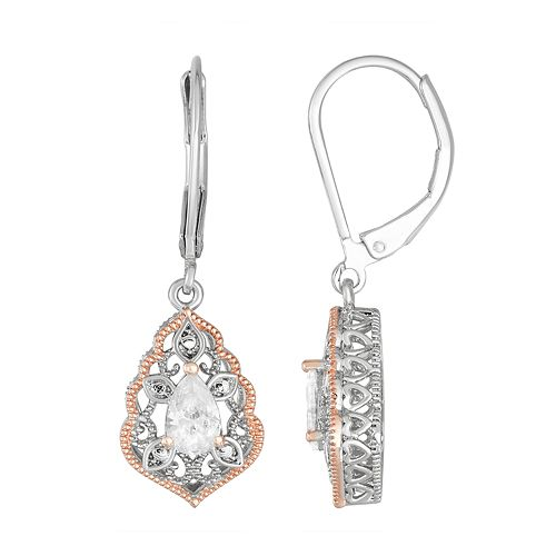 Lily & Lace Open Work Pear-Cut Cubic Zirconia Drop Earrings