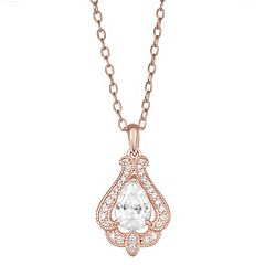 Lily & Lace Cubic Zirconia 14K Rose Gold Over Bronze Pendant Necklace