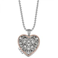 Lily & Lace Filigree Cubic Zirconia Heart Locket Necklace