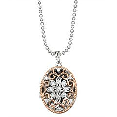 Lily & Lace Filigree Oval Cubic Zirconia Locket Necklace