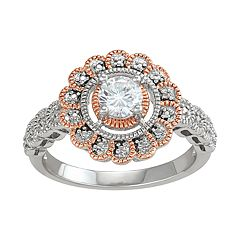 Lily & Lace Cubic Zirconia 14k Rose Gold Over Bronze Flower Halo Ring