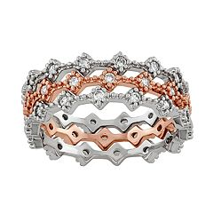 Lily & Lace Cubic Zirconia 14k Rose Gold Over Bronze Ring Stacking Ring Set