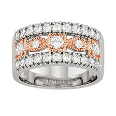 Lily & Lace Cubic Zirconia 14k Rose Gold Over Bronze Two-Tone Ring