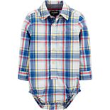 Baby Boy OshKosh B'gosh® Button-Front Plaid Bodysuit