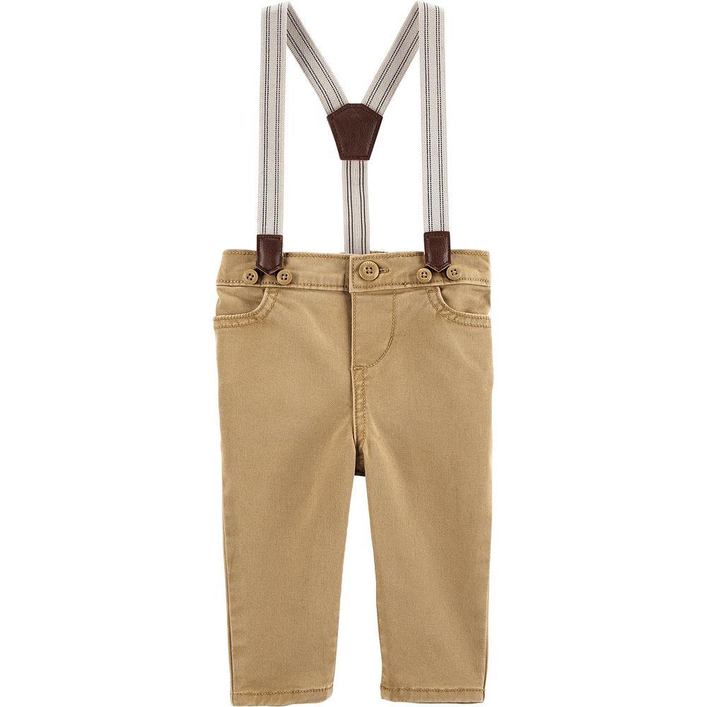 Baby Boy OshKosh B'gosh® Suspender Khaki Pants