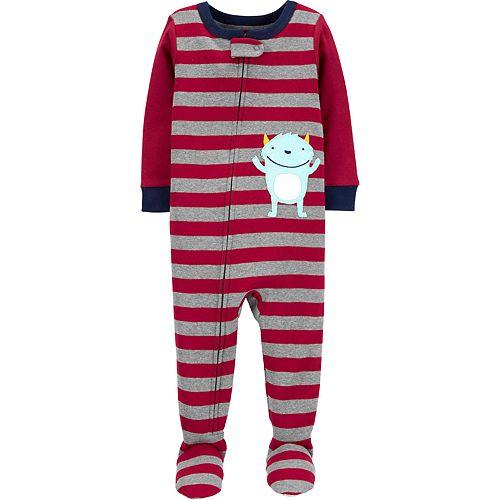 Toddler Boy Carter's Stripes & Monster Footed Pajamas