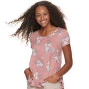Juniors' SO® Floral Print Crossback Tee