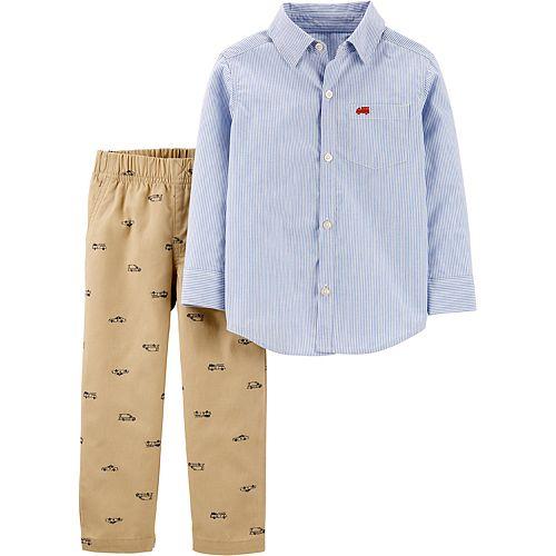 Toddler Boy Carter's 2-Piece Striped Button-Front Top & Hero Vehicle Pants Set