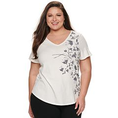 b8e12488e Plus Size EVRI Graphic V-Neck Tee. Heather Butterfly Pewter Slate Mineral  Black Burnished Sun White ...