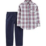 Toddler Boy Carter's 2-Piece Plaid Button-Front Top & Poplin Pants Set