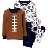 Toddler Boy Carter's 4-Piece Football Snug Fit Pajama Set