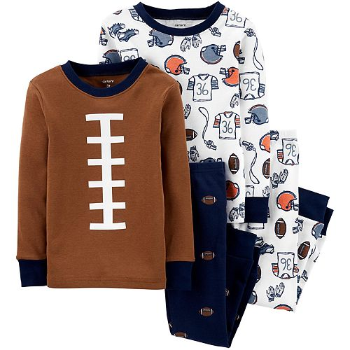 Toddler Boy Carter's 4-Piece Football Snug Fit Pajama Set