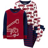 Toddler Boy Carter's 4-Piece Firetruck Snug Fit Pajama Set