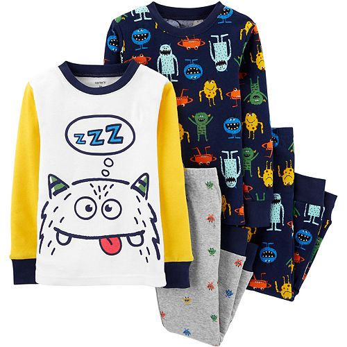 Toddler Boy Carter's 4-Piece Monster Snug Fit Pajama Set