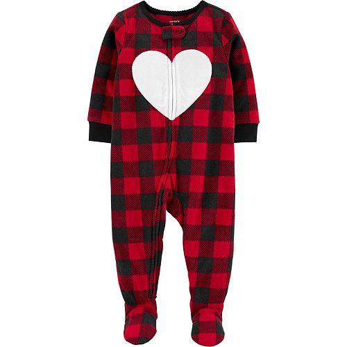 Baby Girl Carter's 1-Piece Heart Fleece Footie PJs