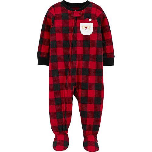 Baby Boy Carter's 1-Piece Christmas Buffalo Check Fleece Footie PJs