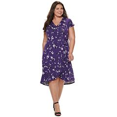 Plus Size EVRI Wrap Midi Dress. Purple Floral Mineral Black 03c2778cb