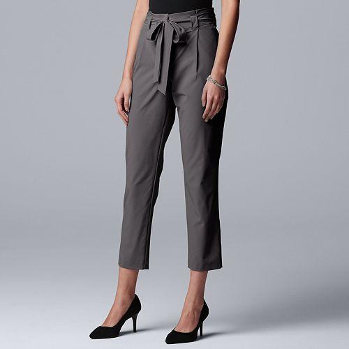 Petite Simply Vera Vera Wang Paper-Bag Crop Pants