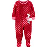 Toddler Girl Carter's 1-Piece Reindeer Fleece Footie PJs