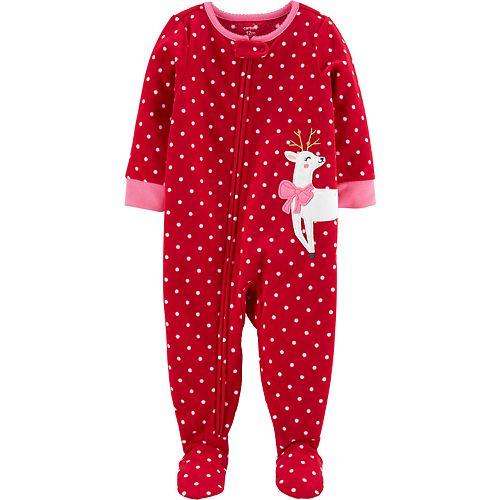 Toddler Girl Carter's 1-Piece Reindeer Fleece Footie PJs