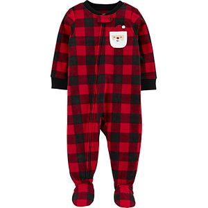 Toddler Boy Carter's 1-Piece Christmas Buffalo Check Fleece Footie PJs