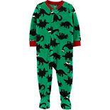Toddler Boy Carter's 1-Piece Dinosaur Fleece Footie PJs