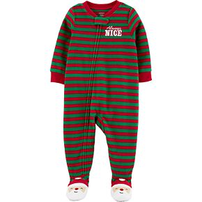 Toddler Boy Carter's 1-Piece Santa Fleece Footie PJs