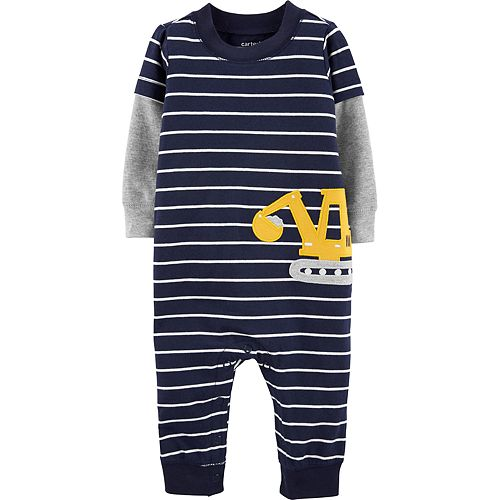Baby Boy Carter's Striped Construction Truck Coverall
