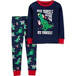 Toddler Boy Carter's 2-Piece Christmas Dinosaur Snug Fit Cotton PJs