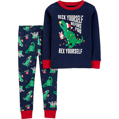 Carters Toddler Boys Holiday Christmas 4 Piece Snug Fit Long Sleeve Cotton Pajamas