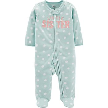 NEW Baby Girls Footed Fleece Sleeper 6-9 Mo Bodysuit Outfit Pink Little Sister