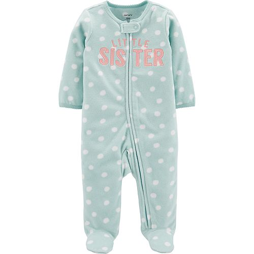 Baby Girl Carter's Little Sister Zip-Up Fleece Sleep & Play