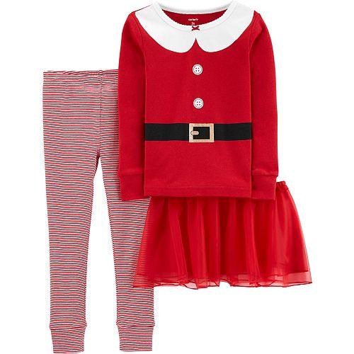Toddler Girl Carter's Santa Christmas Top & Bottoms Pajama Set