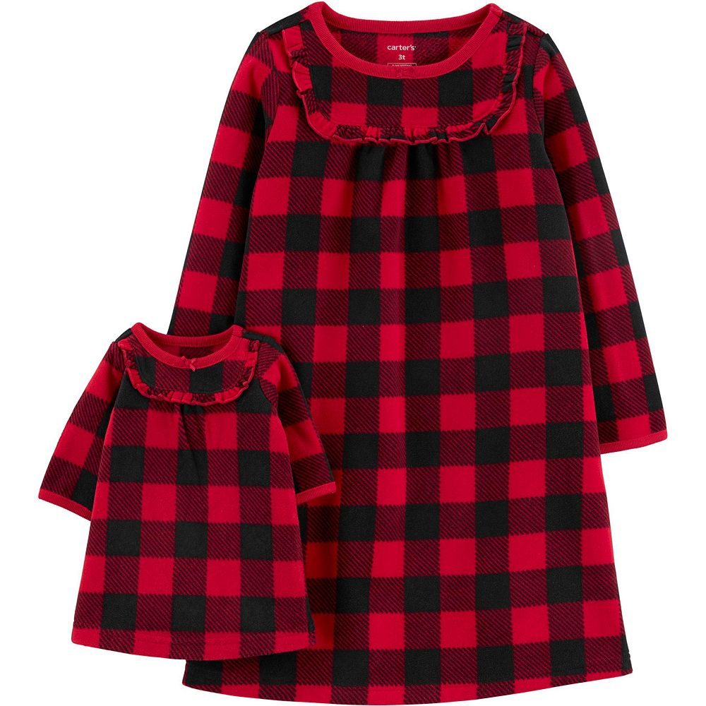 Toddler Girl Carter's Buffalo Check Matching Nightgown & Doll Nightgown Set