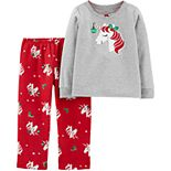 Toddler Girl Carter's 2-Piece Christmas Unicorn Fleece PJs