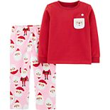 Toddler Girl Carter's 2-Piece Christmas Santa Fleece PJs