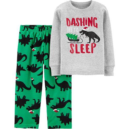 Toddler Boy Carter's 2-Piece Christmas Dinosaur Snug Fit Cotton & Fleece PJs