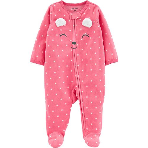 Baby Girl Carter's Polka Dot Bear Zip-Up Fleece Sleep & Play