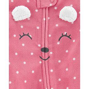 Baby Girl Carter's Polka Dot Bear Zip-Up Fleece Sleep & Play