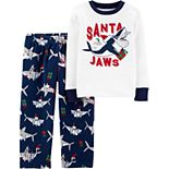 Toddler Boy Carter's 2-Piece Santa Shark Snug Fit Cotton & Fleece PJs