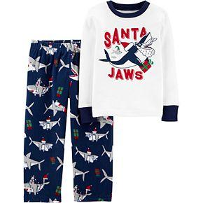 Toddler Boy Carter's 2-Piece Santa Shark Snug Fit Cotton & Fleece PJs