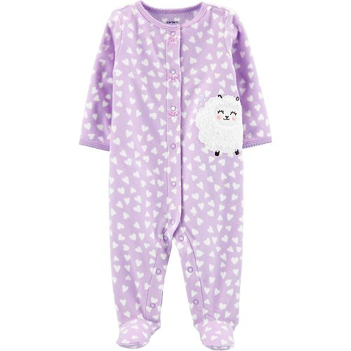 Baby Girl Carter's Sheep Snap-Up Fleece Sleep & Play
