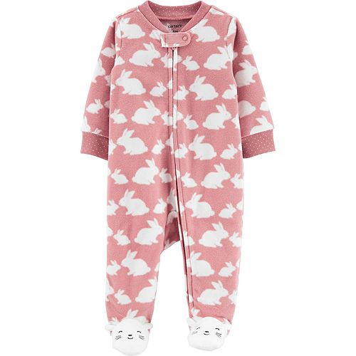 Baby Girl Carter's Bunny Zip-Up Fleece Sleep & Play