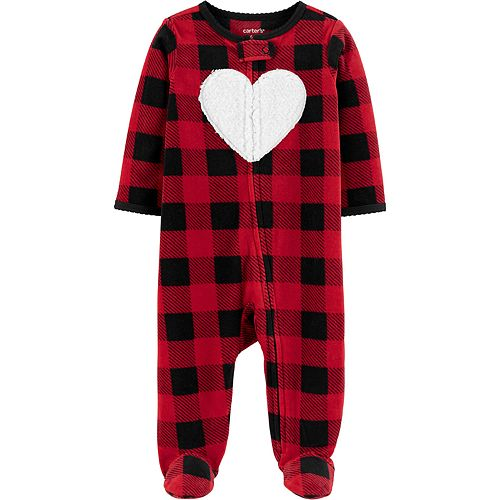Baby Carter's Buffalo Check Zip-Up Fleece Sleep & Play