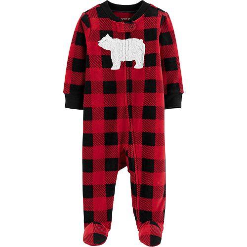 Baby Carter's Buffalo Check Zip-Up Fleece Sleep & Play