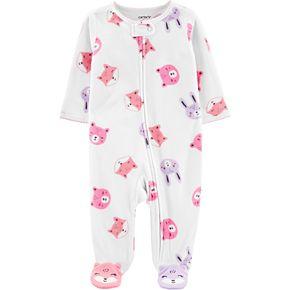 Baby Girl Carter's Woodland Creatures Fleece Zip-Up Sleep & Play